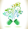 Opened green color pill with leaf vector image