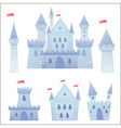 Cute cartoon medieval castle and set of towers vector image