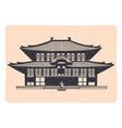 vintage tradition asian house emblem - grunge vector image