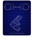 3d model of handcuffs and a revolver on a blue vector image vector image