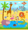 baby jungle and safari zoo animals nature vector image vector image