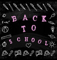 Back to school words and hand drawings with