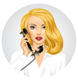 blonde woman with retro black phone in her hand vector image vector image