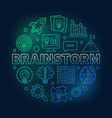 brainstorm round colored outline vector image vector image