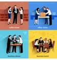 Business lunch 4 flat icons square vector image vector image