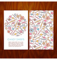 Business Set Template with Hand Drawn Candy Sweets vector image
