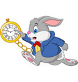 cartoon rabbit holding watch vector image