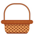 cartoon wicker basket shopping cart icon poster vector image