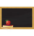 chalkboard with books and apple vector image vector image