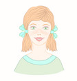 cheerful cute young girl with freckles and red vector image