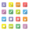 colorful flat icon set 8 on rounded rectangle with vector image