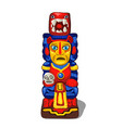 colorful totem ritual implements injun vector image