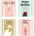 cute happy birthday boy and girl cartoon card vector image