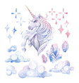 cute watercolor unicorn vector image vector image