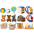Different kind of toys and stationaries vector image vector image