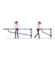 female security guard at mechanical barrier vector image
