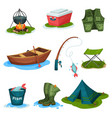 fishing sport symbols set outdoor activity vector image