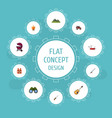 flat icons hill suv music and other vector image vector image