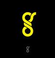 g monogram flat yellow letter vector image vector image
