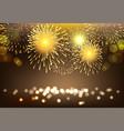 golden firework on city landscape background vector image vector image
