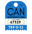 guangzhou airport luggage tag vector image vector image