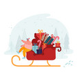 happy man in santa claus hat sitting in reindeer vector image vector image