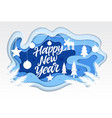 happy new year - modern paper cut vector image