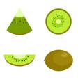 kiwi fruit food slice icons set flat style vector image vector image