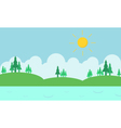 Landscape hill and river of silhouette vector image