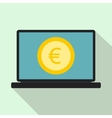 Laptop screen with the euro sign icon flat style vector image vector image