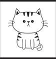 Linear cat sad head face silhouette contour line