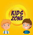 little boys happy characters with kids zone label vector image vector image