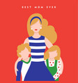 mothers day card for happy family holiday vector image vector image