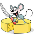 mouse holding a cheese knife - isolated on vector image