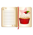 Notebook with cupcake on page vector image vector image