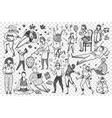 people hand drawn doodle set vector image vector image