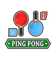 ping pong rackets and score vector image vector image