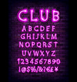 pink neon font on brick wall vector image
