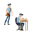 post mail postman man flat icon vector image vector image
