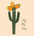 print with funny saguaro cactus in vector image