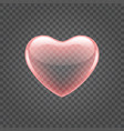 red shiny heart shape isolated on transparency vector image