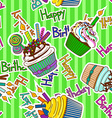 seamless pattern birthdays cupcakes vector image