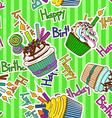Seamless pattern of birthdays cupcakes vector image