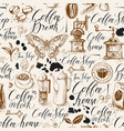 seamless pattern on coffee theme vector image vector image