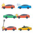 set damaged cars crashed in street lamp vector image vector image