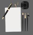 set flat calligraphy stationery top view pen vector image vector image