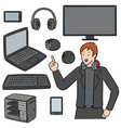 set gamer and gaming equipment vector image