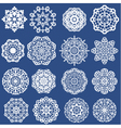 Set of Decorative paper snowflakes White on blue b vector image