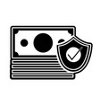 silhouette bills cash money with security shield vector image vector image