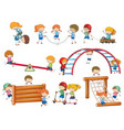 simple kids doodles playing on play equipment vector image